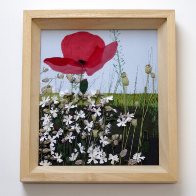 White Campion and Poppies – Textile Landscape Artwork by Jessica Coote