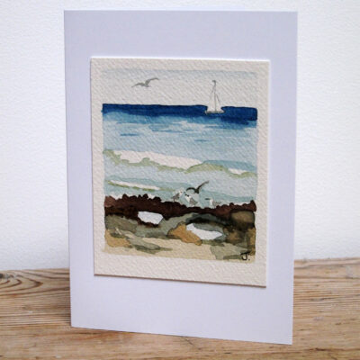 Boat and Beach - Original Watercolour Painting by Jessica Coote