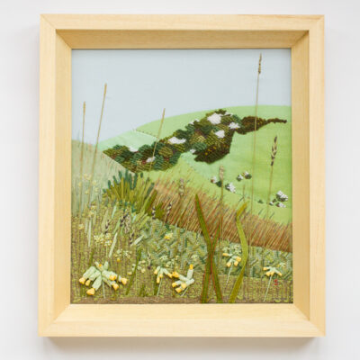 Cowslips – Hand Embroidered Landscape by Jessica Coote