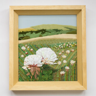 White clover – Hand Embroidered Landscape by Jessica Coote